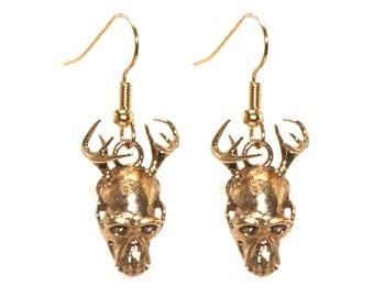 Weird Earrings 3D Printed Jewelry Hybrid Animal Antler Skull Earrings