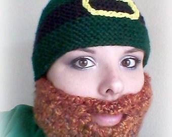St Patricks Day Hat, Bearded Hat, Leprechaun Hat, Funny Bearded Hat, Knit Hat, Crochet Beard, Adult Hat, Teen Hat