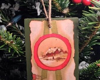 Vintage Christmas Postcard Ornament #001