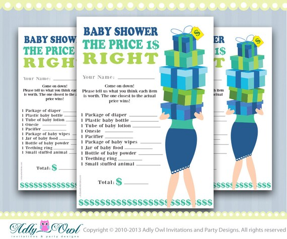 Items Similar To Price Is Right Baby Boy Shower Game Printable, Fun Baby  Shower Games For Boy Baby Shower, Baby Blue, Green,teal,turquoise. On Etsy