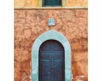 Blue and Burnt Orange Pisa Door Photograph, Tuscany,Yellow, Arch, Wall Art, Home Decor, Blue Door of Pisa- (Vertical. See full image)