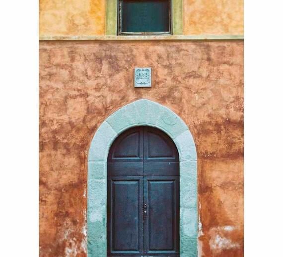 Blue And Burnt Orange Pisa Door Photograph Tuscanyyellow