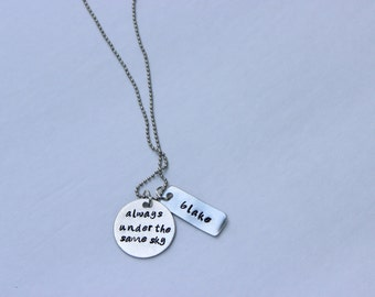 """deployment necklace, """"always under the same sky"""", handstamped, military wife, military girlfriend, deployment jewelry, military jewelry"""