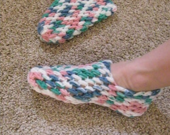 Vintage Crocheted Slippers - NEW Size 5 - 6.5