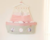 A storage organizer with Six pockets, Pink Swaddle changing table rack,  diapers stacker, nursery decor, shower gift, baby girl, Boat shaped