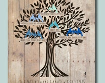"""Personalized Family Tree Poster 11""""x14""""  with names of children and grandchildren ANNIVERSARY GIFT for Grandparents"""