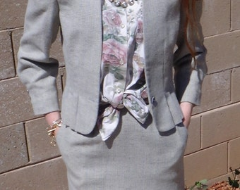 60s-70s, 2 pc.suit, skirt and blazer, Gentleman's Lady
