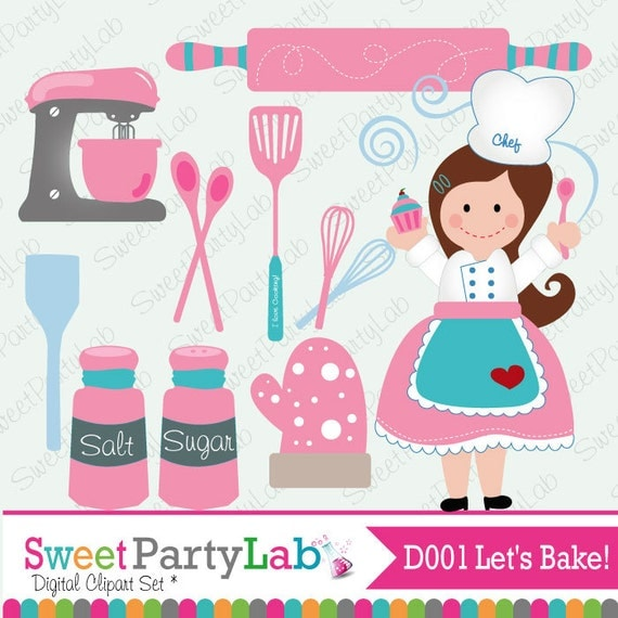 Let's bake, Sweet Baking Clipart Set - INSTANT DOWNLOAD - D001