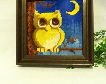 Vintage Framed Needlepoint Owl. FREE US SHIPPING!