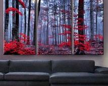 "Huge 3 Panels framed 1.5"" depth Art Canvas Print beautiful Forest trees autumn fog morning Wall home office decor interior"