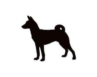 Basenji Dog Silhouette Custom Die Cut Vinyl Decal Sticker - Choose your Color & Size
