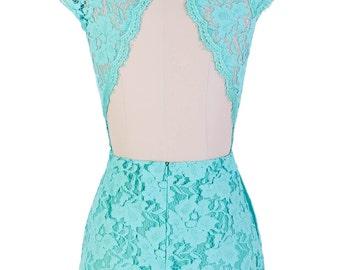Lilyan Lace Backless Vintage Inspired Dress  //Teal/Mint //Flutter Sleeves