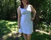 Searsucker blue and white palm tree dress