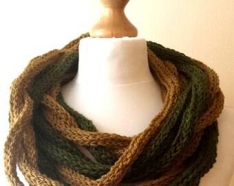 Hand Knitted Loop Scarf,  Infinity tube Scarf, Neckwarmer, Olive Green infinity loop multicolored scarf