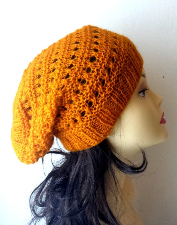 Hand Knitted Hat, Slouchy beanie hat, slouchy yellow, mustard, ocher color hat, hand knit women men hat, chunky slouchy knitted hat