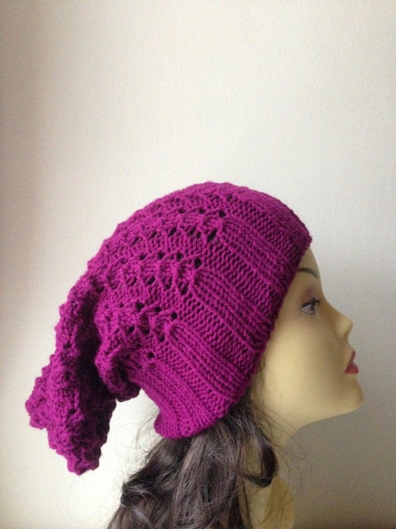 Plum Hand Knitted Hat, Slouchy beanie hat, slouchy plum cableknit hat, hand knit women men hat, chunky slouchy knitted hat