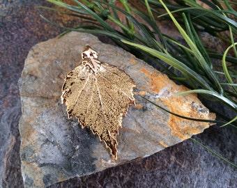 Birch Leaf Pendant, Gold Dipped Birch Leaf Pendant, Gold Birch Leaf, Leaf Pendant, Nature Pendant