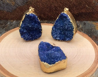 Druzy Agate Pendant, Free Form Agate Pendant, Druzy, Drusy, Gold Plated Druzy, One of A Kind, Choose Your Piece, Dark Blue, PG0304
