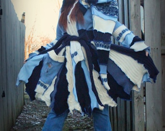 "Custom Fairy Coat of various blues ""Key to Time"""