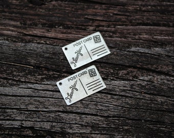 Antiqued Silver Postcard Pendants, Postcard Charms