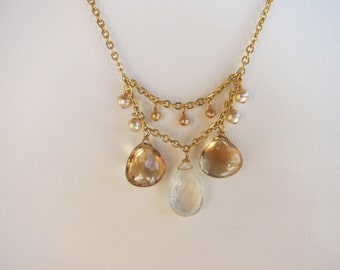 Green Amethyst Pendant, Champagne Citrine, Pearl Handmade Necklace with 14K Gold Filled Chain