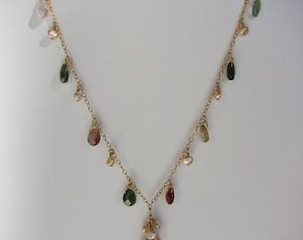 Sea Foam Green Fluorite,Tourmaline, Pink Pearl Handmade Lariat Necklace with 14K Gold Chain