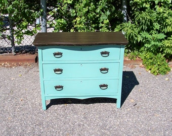 Shabby Chic Vintage 1910s Turquoise Dresser