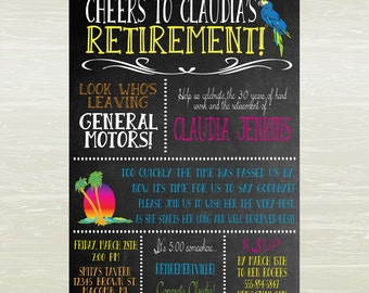 Retirement Party Invitation, Jimmy Buffett- Margaritaville theme- DIGITAL JPG ONLY