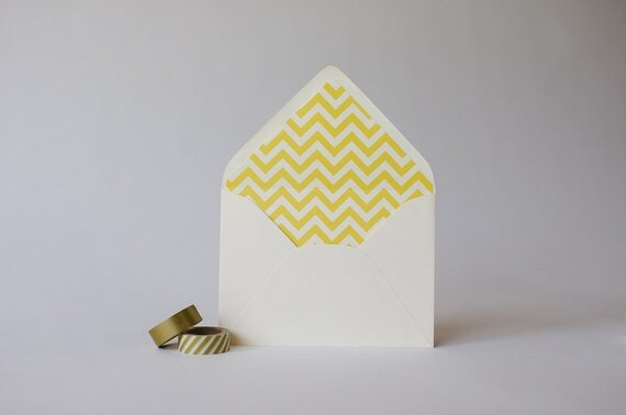 chevron lined envelopes (25 color options) - sets of 10