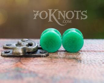 Jade Stone Plugs - Double Flared - 6mm - 8mm - 10mm - 11mm - 12.7mm - 14mm - 16mm - 19mm - 22mm - 25mm - Organic