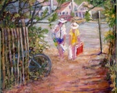 Rehoboth Beach, Delaware, Ocean Beach Path, print in 2 sizes; painting by Ray Sokolowski
