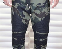 Army Camouflage Or Urban Camo Fabric with Black Quilted Fabric, Mens Drop Crotch /Harem or Jogger Pants -Biker Pants