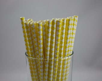 "Yellow and White Checkered Paper Straws - 7.75"" - yellow and white - white and yellow - birthday party - yellow straws - yellow checkered"