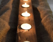 Rustic Centerpiece. Recycled / reclaimed timber. Tea Light Holder. Great For Parties or Romantic Dinners.
