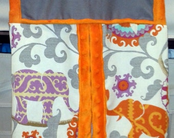 "Diaper stacker bag Colorul Elephants and Suzani Solar Flairs pattern in orange, gray, purple.  Approx. 12"" W x  23""L x 7"" deep at the bottom"