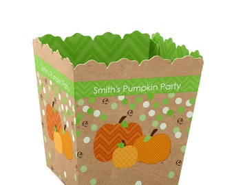 Pumpkin Patch Candy Boxes - Personalized Favor Boxes for a Fall or Halloween Baby Shower, Birthday Party Supplies - Set of 12