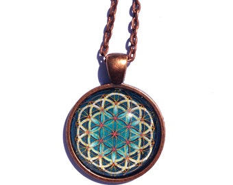Sacred Geometry Flower of Life Necklace - Copper