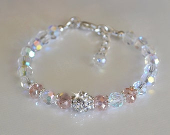 Crystal Clear and Pink Crystal Bracelet