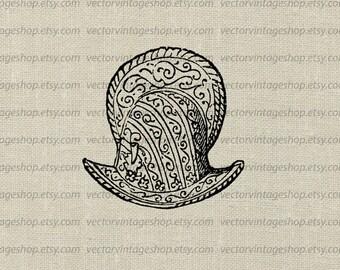 Knights Helmet Vector Graphic Instant Download Clipart, Antique War Armor Morion Helmet Soldier, Victorian Illustration WEB1724AE