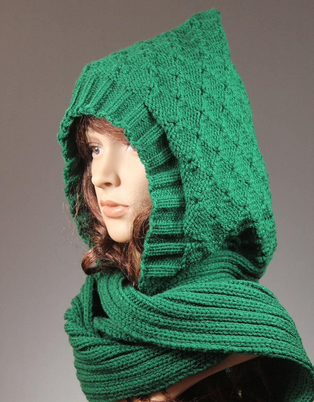 Knitting Pattern Hat Scarf Combo : ScoodieHood Hooded Scarf Hat Scarf Combo Knit by GoKnitsDotCom