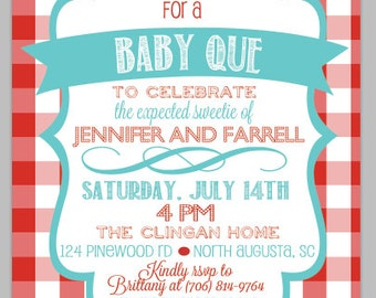 Digital Proof of Baby Que Invitation