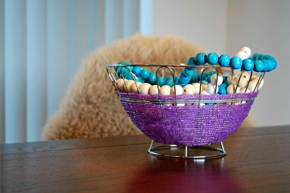 Handmade Beaded Basket : Handmade purple wire and bead basket by myluxe on etsy