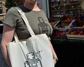 ANDROIID Tote Bag in organic cotton - Linocut print in limited and numbered series