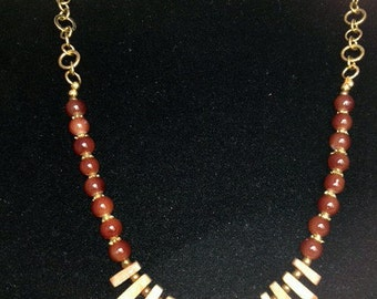 Brown and Gold Fan Bead Necklace