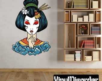 Japanese Geisha Wall Decal - Wall Fabric - Vinyl Decal - Removable and Reusable - JapaneseGeishaUScolor003ET