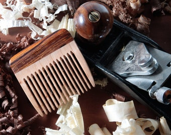 Wood Beard Comb - Cherry and Cocobolo - Handmade Comb - Custom Facial Care - FREE SHIPPING