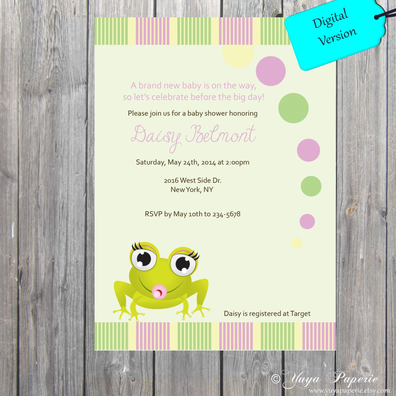 Frog Baby shower theme invitation, Its a Girl frog invite Yellow ...