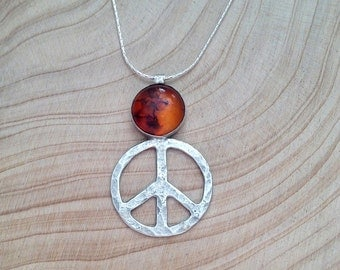 Silver Peace pendant, Peace sign pendant, Peace necklace, Amber stone  pendant , Everyday jewelry, Friendship Gift