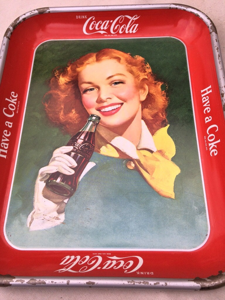 Vintage 1950 S Coca Cola Serving Tray Girl With Red Hair