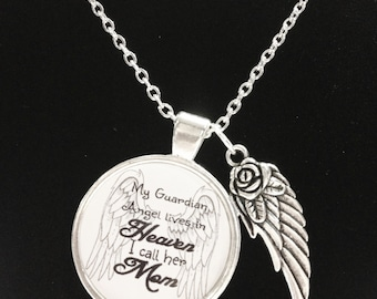 Mom Angel Necklace, Guardian Angel Mother Necklace, In Heaven Wing Memory Remembrance Memorial Not Forgotten, Sympathy Gift Necklace